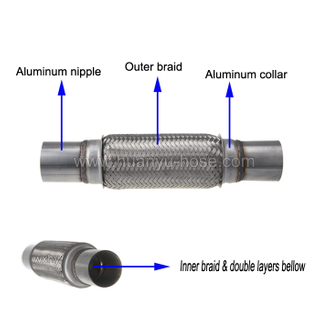 Stainless steel flexible pipe double braided with extension nipple for exhaust